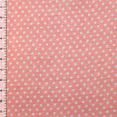 Gray Dots on Dusty Pink Cotton Jersey Blend Knit Fabric