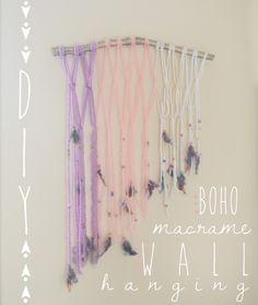 DIY Boho Macrame + Beaded Wall Hanging