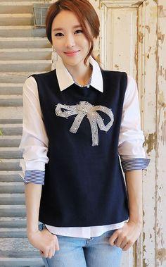 StyleOnme_Beaded Ribbon Detail Vest #vest #ribbon #beaded