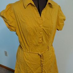 Swing dress Similar to modcloth soda pop. 80s does 50s. Mustard yellow. ModCloth Dresses Midi
