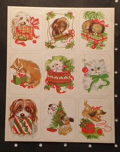 vintage 80's stickers puppies kittens christmas