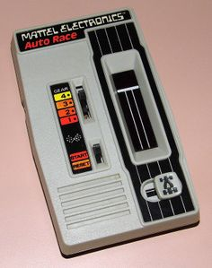 Vintage Mattel Electronics Auto Race Handheld Game, No. 9879, Red LED, Made In Hong Kong, Copyright 1976.
