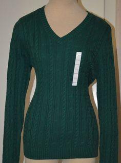 Ladies Croft & Barrow Vintian Green Long Sleeve V-Neck Pullover Sweater XS-XL  #CroftBarrow #VNeck
