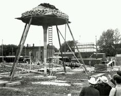 Testing the lily-pad columns for the Johnson Wax Building - Frank Lloyd Wright