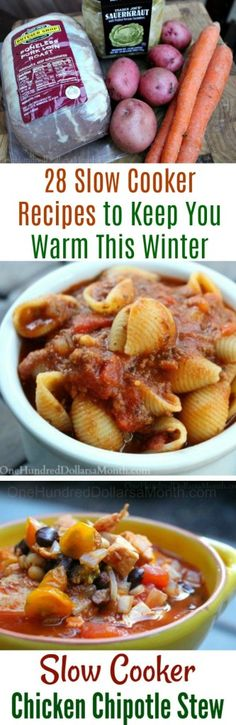 28 Slow Cooker Recipes to Keep You Warm This Winter - One Hundred Dollars a Month 28 Slow Cooker Rec Slow Cooker Black Beans, Slow Cooker Lentils, Slow Cooker Chili, Slow Cooker Chicken, Slow Cooker Recipes, Crockpot Recipes, Chicken Recipes, Baked Chicken, Crock Pot Baked Potatoes