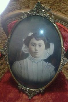 Shabby N Chic Vtg Picture Frame Bubble Convex Glass Victorian Frame  
