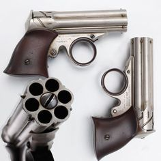 """Remington Zig-Zag Derringer - Originally marketed as """"Elliot's Pocket Revolver"""", this small """"pepperbox"""" style derringer was given the """"Zig-Zag"""" designation due to the unique grooves at the breech end of the revolving mechanism. Less than 1,000 were made in their 2 year production span from 1861-62. The Zig-Zag's iconic appearance in addition to the fact that this was the first Remington handgun designed for a metallic cartridge (.22 rimfire short), make this small pocket pistol very…"""