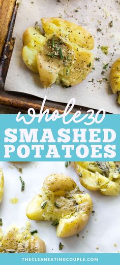 This Crispy Smashed Potatoes recipe is the perfect easy side dish to any healthy dinner. These potatoes are paleo, vegan, Whole30 friendly and easy to make. Baked in the oven until they're crispy on the outside + soft on the inside, everyone at your table will love these! I like to use fresh herbs, but you can add parmesan too! #vegan #paleo #whole30 #dairyfree #sidedish Easy Whole 30 Recipes, Easy Clean Eating Recipes, Unique Recipes, Side Salad Recipes, Side Dish Recipes, Snack Recipes, Savory Snacks, Potato Recipes, Dinner Recipes