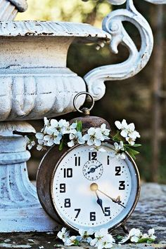 Vintage Weathered White Urn & Vintage Alarm Clock