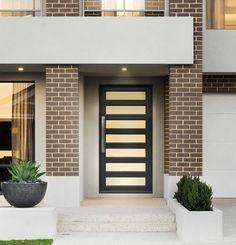 Timber Look Doors By Jason Windows Front Doors, Garage Doors, Aluminium Front Door, Brick Design, Investment Property, Door Ideas, Home Projects, My House, Entryway