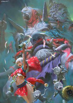 Zeen Chin Digital Painting Illustration Summon The King Art And Illustration, Character Illustration, Art Illustrations, Fantasy Kunst, Fantasy Art, Digital Painter, Digital Art, Digital Paintings, Fantasy Words