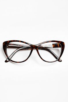 Oversized 'Violet' Clear Cat Eye Glasses - Tortoise #1100-2