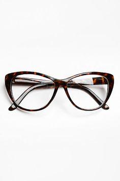 Oversized 'Violet' Clear Cat Eye Glasses - Tortoise #1100-2