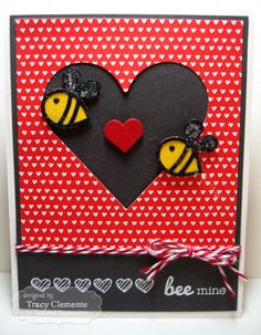 Bee Mine Card by Tracy Clemente #Cardmaking, #ValentinesLove, #LittleBitsDies, #TEMatched, #ShareJoy, #TE