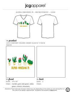 JCG Apparel : Custom Printed Apparel : Alpha Omicron Pi Recruitment T-Shirt #greek #alphaomicronpi #aopi #aoii #cactus #recruitment #handdrawn #stuck #together