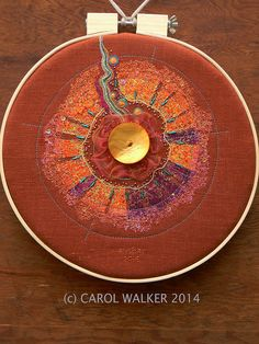 Carol Walker, 'Ember', 12.5 inch hoop, 8-2014, #Fiber Art, #Embroidery