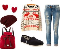 """Ugly Christmas Sweater Outfit"" by gdifed on Polyvore"