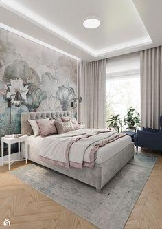 Mokotów z romantyczna nutą - Średnia beżowa biała sypialnia małżeńska, styl eklektyczny - zdjęcie od M!kaDesign - homebook Modern Classic Bedroom, Luxurious Bedrooms, Master Bedroom, Sweet Home, Luxury, House, Furniture, Design, Home Decor