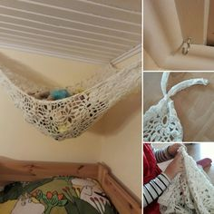 Soft toy hammock, upcycled out of an old scarf, a length of old lace and three hooks. A nice project with the six year old! #upcycle #organized