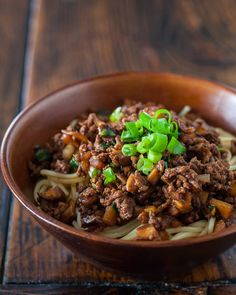 """Have you ever tried Taiwanese """"Spaghetti""""? Noodles with meat sauce flavored with dark soy sauce and oyster sauce. 20 minute recipe. ~ http://steamykitchen.com"""