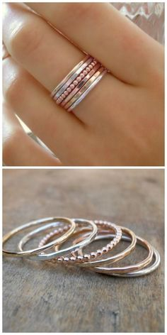 I would really love a set of stackable rings like this. But I'd want to wear them on my index finger, which is a size 10, which is hard to find in delicate rings!
