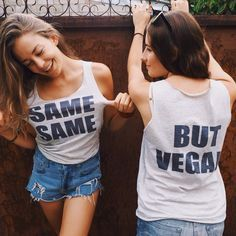 SAME SAME BUT VEGAN! Love this Tee                              … Vegan Fashion, Ethical Fashion, Love Fashion, Vegan Looks, Vegan Clothing, Vegan Lifestyle, Going Vegan, Summer Outfits, How To Wear
