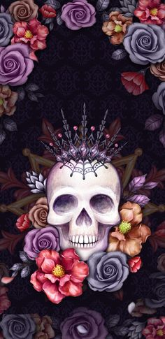 Wallpaper by artist unknown i phone wallpapers in 2019 Skull Wallpaper Iphone, Sugar Skull Wallpaper, Sugar Skull Artwork, Et Wallpaper, Gothic Wallpaper, Wallpaper Backgrounds, Wallpaper Lockscreen, Sugar Skulls, Caveira Mexicana Tattoo