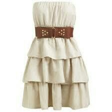 cream strapless dress with leather belt | country girl