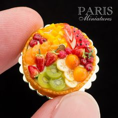 Fruit tart handmade in 12th scale for dollhouse collectors.  Find more like this at www.parisminiatures.etsy.com