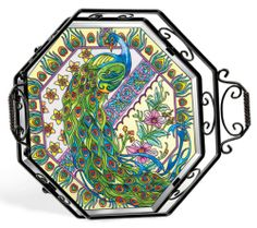 Amazon.com: Amia 5712 Octagon Tray with Peacock Design 15-1/2-Inch W by 3-Inch D by 15-Inch H Wrought Iron Frame, Includes Stand: Kitchen & Dining
