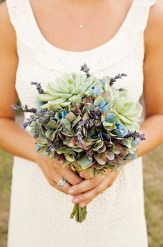 @Jerre Carter thought of you.   hydrangeas, succulents, lavender.