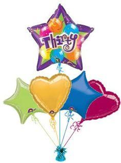 30th Sparkling Star Balloon King Birthday Balloons