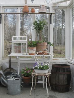 Lovely #shabby #greenhouse // I wish I could build something like this attached to the back of my townhouse.