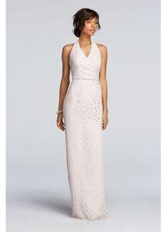 Extra Length Floral Lace Halter Sheath Dress 4XLF19040