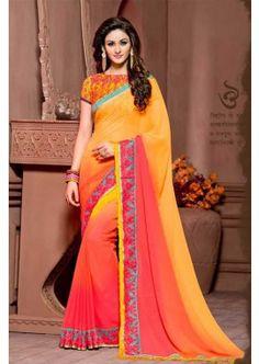 couleur multi color georgette saree, - 81,00 €, #RobeBollywood #SariIndien2016 #LaModeIndienne #Shopkund
