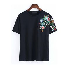 Black Cotton Blends Casual Short Sleeve Round Neck Embroidery Spring Summer T-Shirts, Shoulder(cm): S:39cm, M:40cm, L:41cm Size Available: S,M,L Length(cm): S:…
