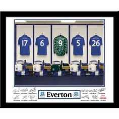 Everton Goalkeepers Dressing Room This is a fabulous present for any Everton fan and is approved and fully licensed by Everton FC.    Your selected surname will be merged onto the Goal Keeper shirt to exactly match your team mates. The recipient's forename and surname is printed alongside the player's signatures underneath the photo leaving a space for the recipient to add their own signature upon receipt. Easy to follow instructions are included.