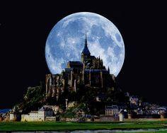 Magical moon. Mont Saint-Michel, France