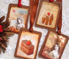 Chocolate Gift Hang Tags  Set of 4. Would be pretty on chocolate class basket for auction.