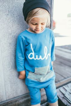 Sleeved 'duh' Pocket Romper - Rags to Raches Cute Babies, Baby Kids, Baby Boy, Little Boy Fashion, Kids Fashion, Trendy Baby Clothes, Babies Clothes, Rags To Raches, Little Boys