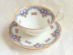 Vintage Aynsley China Blue Pink Flower Wide Mouth Teacup Saucer 1920s