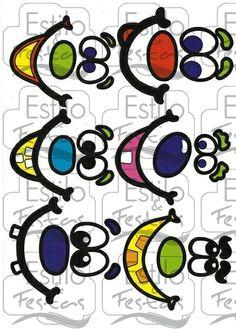 Cartela de Adesivos para Balões - Caras e Bocas 6