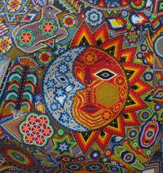 closeup picture of the Huichol Sun-Moon symbol Sun Moon Stars, Sun And Stars, Popular Art, Arte Popular, Moon Symbols, Yarn Painting, Star Art, Naive Art, Mexican Art