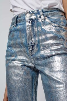 MOTO Silver Foil Mom Jeans                                                                                                                                                                                 More