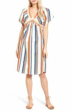 MOON RIVER Stripe Linen & Cotton Dress