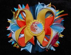 Summer olaf hair bow boutique yellow bow by RoshelysBowtique, $10.00