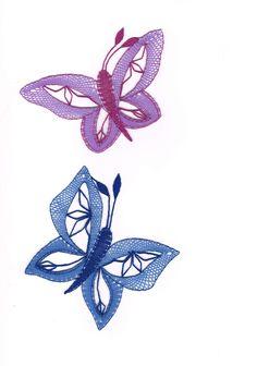 Motýlek+modrý, - paličkovaná krajka, bobbin lace, autor: Lenka Maslova Spetlova, Hostinné, Atelier ROS ZEFYRA s.r.o.