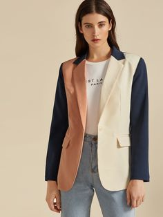 Check out this Notch Collar Colorblock Single Button Blazer on Shein and explore more to meet your fashion needs! Blazers, Suit Separates, Blazer Buttons, Spandex Material, Types Of Sleeves, Color Blocking, Fashion News, Long Sleeve, Jackets