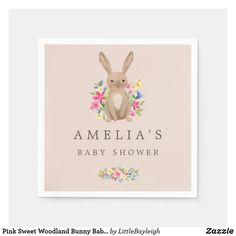 Pink Sweet Woodland Bunny Baby Shower Napkin Baby Shower Napkins, Woodland Baby, Cocktail Napkins, Paper Napkins, Trendy Baby, Baby Boy Shower, Balloons, Bunny, Personalized Baby