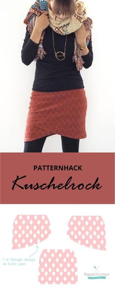 {genäht} – Patternhack Kuschelrock mit Nähanleitung Pattern hack: a wrap skirt for cold days - the cozy skirt for women by Rapantinchen is a figure-hu Sewing Dress, Love Sewing, Sewing Clothes, Diy Clothes, Hand Sewing, Sewing Projects For Beginners, Knitting For Beginners, Sewing Tutorials, Sewing Hacks